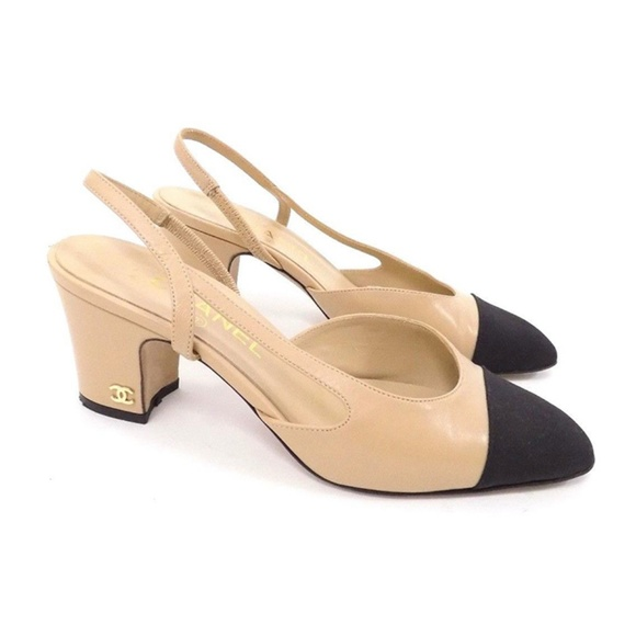7454dac1691 CHANEL Shoes - Chanel Two Tone Beige Black Slingback Heels Pumps